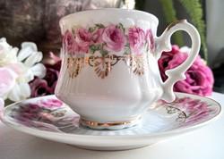 Aranyozott rózsás kávés csésze