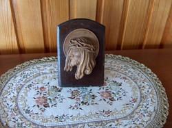 Gyönyörű régi Krisztus fej, fa faragvány, asztalon álló
