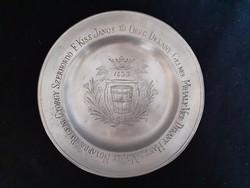 Ón céhtányér, 1833, bodnár céh tányér, zinn, 1 Ft-ról