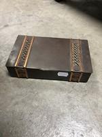 Bronz téglalap alakú doboz, kötél motívummal - M395