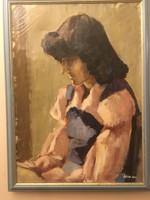 Szignózott női portrét ábrázoló festmény .