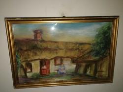 Gyönyörű antik festmény - szignózott, keretezett, gyönyörű - 1 hetes aukción, garanciával!
