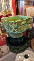 Zsolnay  zöld /arany  eozin kerámia váza. RITKA! F-24