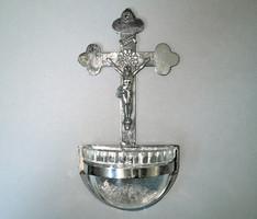Régi német keresztény fém fali szenteltvíztartó alul üveg betéttel szenteltvíz tartó Jézus Krisztus