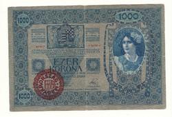 1000 korona 1902 bankó papírpénz bankjegy a régi szép időkből békebeli darab másik