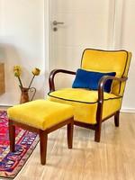 Art Deco fotel + lábtartóval (új kárpitozás)