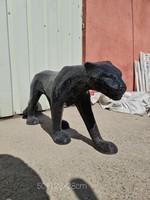Fekete jaguár-leopárd -párduc szobor