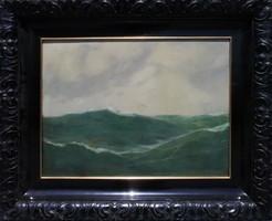 Háborgó tenger, olajfestmény