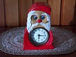 Antik hibátlanul működő festett vas óra, szemmozgásos Mikulás