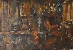 Modern festmény, Férfi rózsával, olaj karton, kerettel: 29 x 41 cm