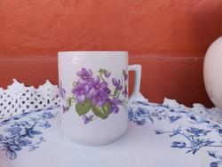 Zsolnay porcelán  Ibolyás bögre nosztalgia  falusi paraszti dekoráció