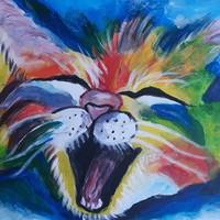Színes cica festmény