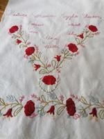 Antik régi vászon dísztörölköző törölköző törlő Kedves rózsám, hogyha elmész messzire.. 66 x 45