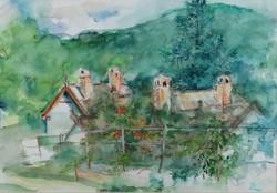 Zsin Judit - Zebegény 35 x 45 cm akvarell, papír