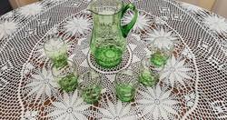Retro zöld üvegkancsó, 6 hozzá tartozó pohárral, hibátlan állapotban, gyűjtői darab
