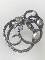 Antik ezüst bross, egyedi kézműves darab