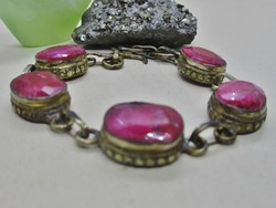 Beautiful older silver-plated bracelet with ruby stones