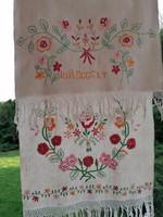 Antik vászon dísz törölköző konyharuha törlő Jó reggelt felirattal 100 x 45 cm