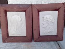 Szecessziós Szentkép Porcelán Pár