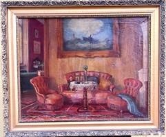 Ritkaság! Novák Erzsébet – Polgári enteriőr című festménye – 113.