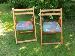 Régi retro összecsukható kárpitozott fa kerti szék kemping szék