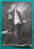 Mozart fekete-fehér képeslap,postatiszta