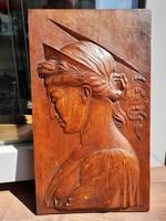Pintér Ignác, faszobrász faragott fa táblaképe 1883. Sopron