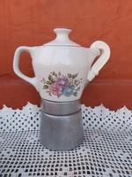 Hollóházi virágos  2 személyes kotyogós porcelán kávéfőző Seherezádé nosztalgia paraszti