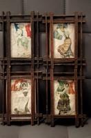 Szecessziós selyem képek eredeti keretben.  Reklám képek.Alkudható!