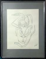 Táncok c. grafika, Károlyfi Zsófia Prima díjas alkotótól. 60x45cm, kerettel és üvegezve.