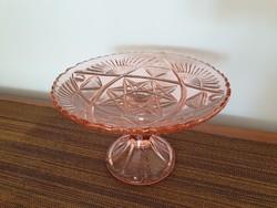 Régi üveg rózsaszín talpas kristály tál gyümölcskínáló vintage üvegtál
