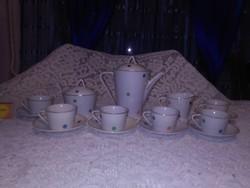 Régi Hollóházi kávés készlet - ritka színes pöttyös mintával