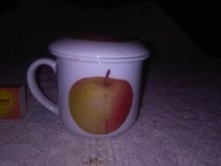 Fedeles, szűrős kerámia teás csésze alma dekorral