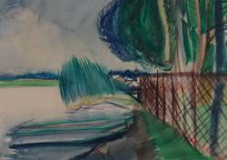 Bartl József - Balatoni nádas 33 x 47 cm akvarell, papír 1966