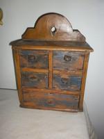 Antik  fiókos fali fa fűszertartó
