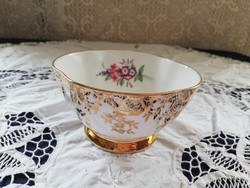 Eladó régi porcelán angol Royal Windsor virágos aranyozott cukor tartó!