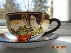 Satsuma Moriage tkézzel festett egyedi ojáshéj kávés csésze alátéttel ,Kannon és Rakan minta