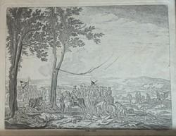 Régi Chodowiecki csatatjelenet metszete(1860-as évek)