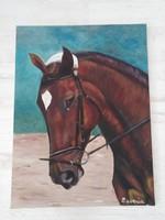 Lovas, olaj festmény ( 80 cm * 60 cm)