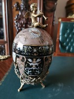 Fabergé jellegű tojás - porcelán és réz kombinációval