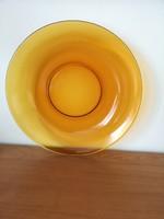 Francia Vereco márkájú, borostyán sárga üveg retro nagy köretes, sültes tál