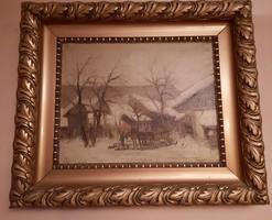 Németh György 1888-1962 festőművész, grafikus munkája, olaj technika, aranyozott keretben.