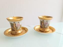 Pazar 18.-19.századi aranyozott teás-kávés csészepár