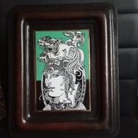 Hollóházi, Szász Endre porcelán falikép bőr keretben, 1979