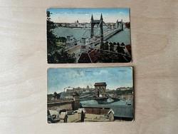 Lánchíd és Erzsébet híd - 1900 körüli képeslap pár