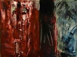 """Szabó Kata:""""Itélet-abstract, akril 30 cm x 40 cm, vászon, szignózott"""