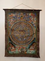 Antik tibeti buddhista nagy méretű sokalakos thanka Tibet Buddha buddhizmus