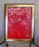 """Szabó Kata: """"Vörös korall"""" (abstract) olajfestmény, 30x40 cm, farost, szép kerettel"""