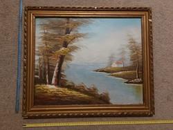 Festmény, hegyek, tó, olaj, farost, méret jelezve!