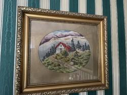  Tű Gobelin kép. Gyönyörű aranyozott keretben. 60cm x52cm  1930-as évekből 